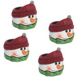 Red Hat Snowman Flower Pots (Set of 4)
