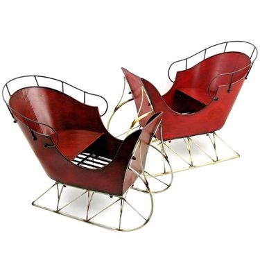 Red Iron Antique Display Sleighs (Set of 2) - Click to enlarge