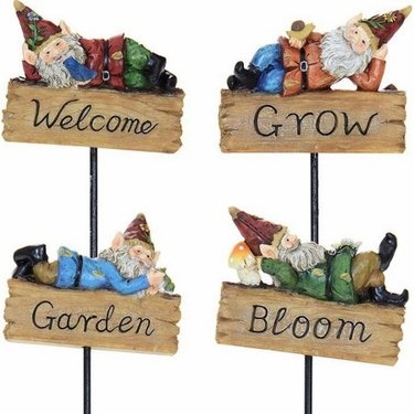 Relaxing Gnome Pot Stakes (Set of 4) - Click to enlarge