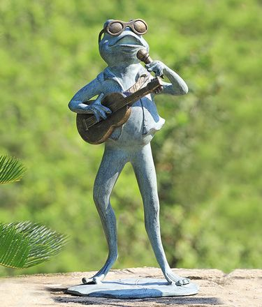 Rock Star Frog Garden Sculpture - Click to enlarge