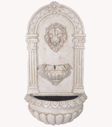Roman Lion Head Wall Fountain w/LED Lights - Click to enlarge