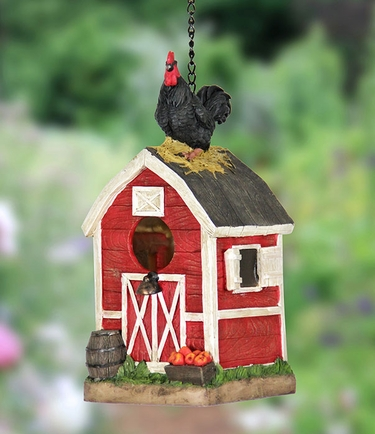 Rooster on Red Barn Bird House - Click to enlarge