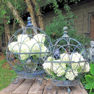 Round Globe Plant Stands (Set of 2) - Antique Blue - Click to enlarge