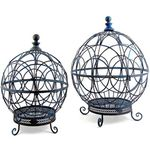 Round Globe Plant Stands (Set of 2) - Antique Blue
