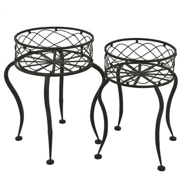 Round Iron Basket Stands (Set of 2) - Antique Rust - Click to enlarge