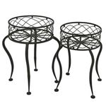 Round Iron Basket Stands (Set of 2) - Antique Rust