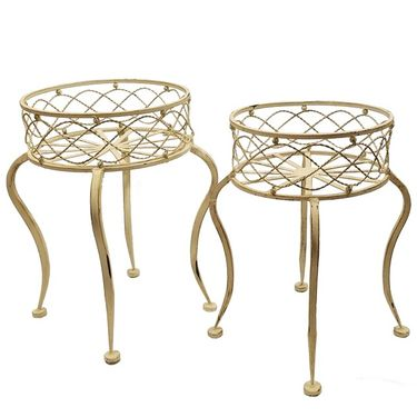 Round Iron Basket Stands (Set of 2) - Antique White - Click to enlarge