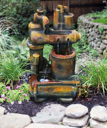 Rustic Leaky Pipes LED Fountain - Click to enlarge