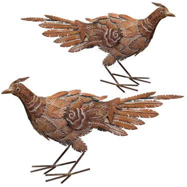 Rustic Pheasant Birds - Downwards (Set of 2) - Click to enlarge