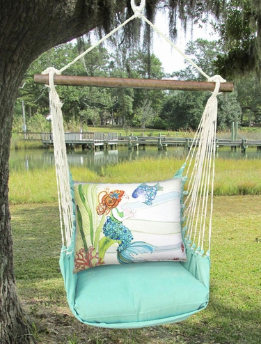 Seafoam Green Tiny Mermaid Hammock Chair Swing Set - Click to enlarge