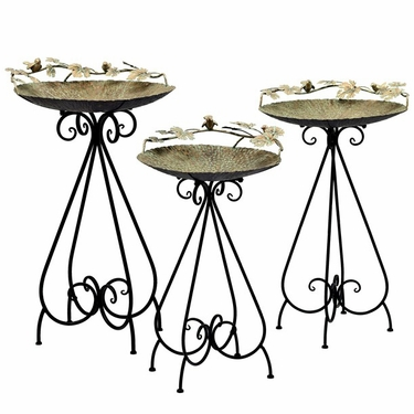 Set of 3 Frosted Gold Iron Birdbaths w/Birds - Click to enlarge