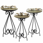 Set of 3 Frosted Gold Iron Birdbaths w/Butterflies