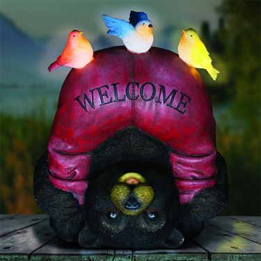 Silly Solar Welcome Bear w/Birds - Click to enlarge