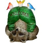 Silly Solar Welcome Raccoon w/Birds