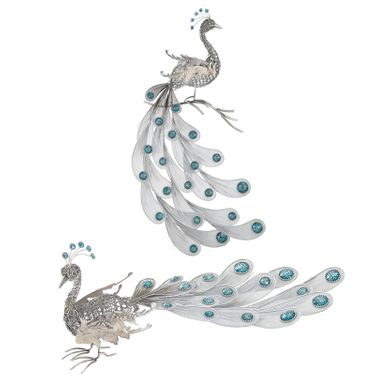 Silver Peacock Decor (Set of 2) - Click to enlarge