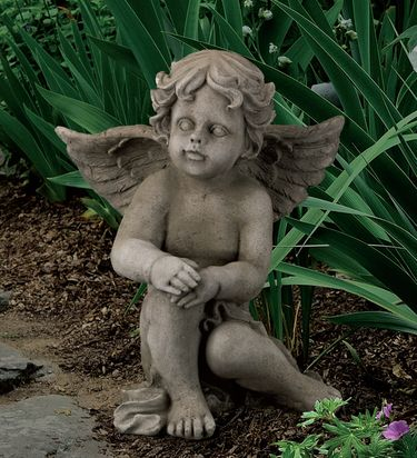 Sitting Cherub Garden Statue - Click to enlarge