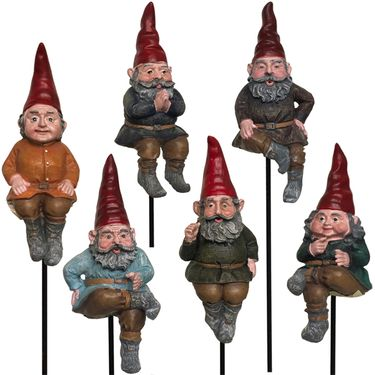 Sitting Gnome Garden Stakes (Set of 6) - Click to enlarge