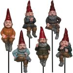 Sitting Gnome Garden Stakes (Set of 6)