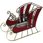 "38"" Red Wood & Metal Holiday Sleigh"