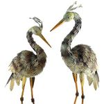 Small Iron Blue Heron Birds (Set of 2)