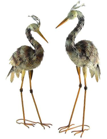 Small Iron Blue Heron Birds (Set of 2) - Click to enlarge