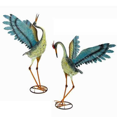 Small Iron Dancing Cranes (Set of 2) - Click to enlarge