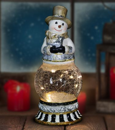Snowman Firefly Globe w/Bird & Timer - Click to enlarge