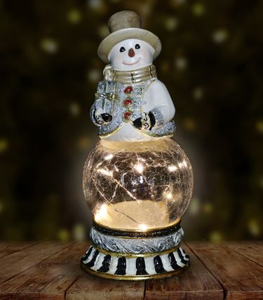 Snowman Firefly Globe w/Gift & Timer - Click to enlarge