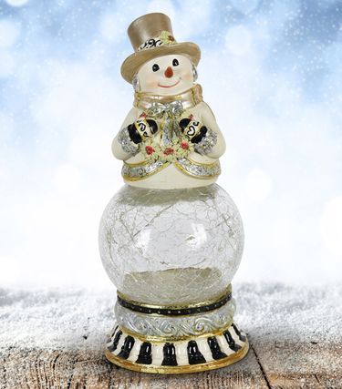 Snowman Firefly Globe w/Wreath & Timer - Click to enlarge