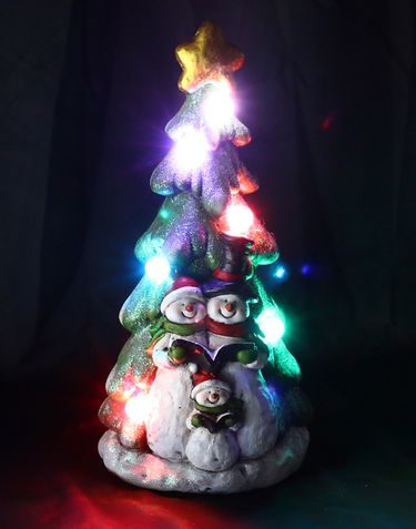 Snowman Family & Christmas Tree w/LED Lights - Click to enlarge