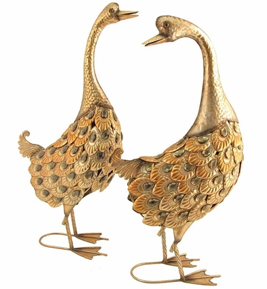 Soft Gold Metallic Iron Geese Statues (Set of 2) - Click to enlarge