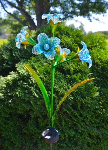 Solar 5 Glass Flowers Stake - Blue (Set of 2) - Click to enlarge
