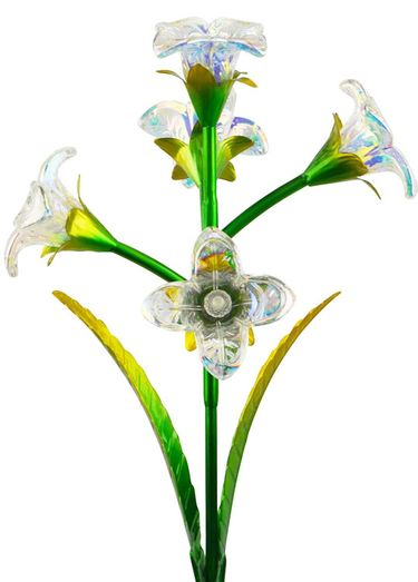 Solar 5 Glass Flowers Stake - Clear (Set of 2) - Click to enlarge