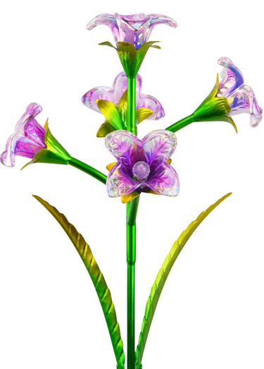 Solar 5 Glass Flowers Stake - Purple (Set of 2) - Click to enlarge
