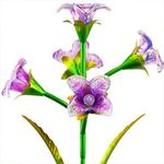 Solar 5 Glass Flowers Stake - Purple (Set of 2)