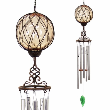 Solar Amber Caged Glass Wind Chime - Click to enlarge