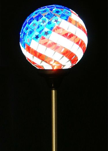 Solar Americana Mosaic Globe Garden Stake - Click to enlarge