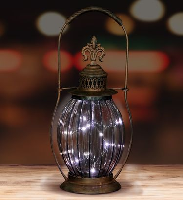 Solar Antique Lantern w/12 Firefly LEDs - Clear - Click to enlarge