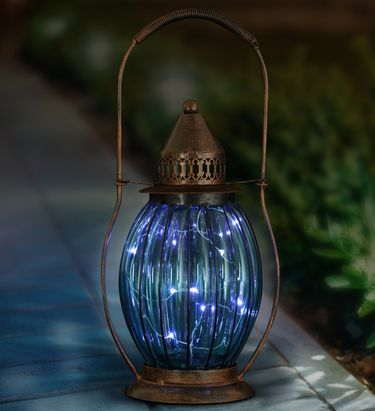 Solar Antique Lantern w/12 Firefly LEDs - Sea Blue - Click to enlarge
