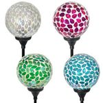 Solar Mosaic Garden Ball Stakes (Set of 4)
