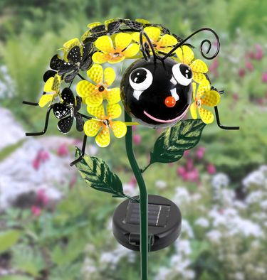 Solar Bee Flower Stake w/LEDs - Click to enlarge