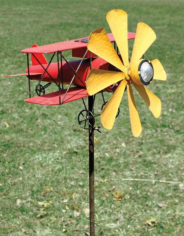 Solar Biplane Wind Spinner Stake - Click to enlarge