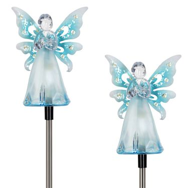 Solar Blue Angel w/LED Wings (Set of 2) - Click to enlarge