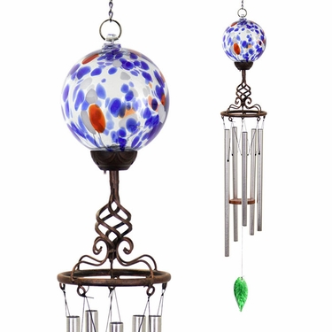 Solar Blue Glass Ball Finial Wind Chime - Click to enlarge