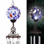 Solar Blue Glass Ball Finial Wind Chime