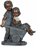 Solar Boy & Girl in Wheelbarrow Statue
