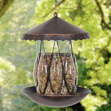 Solar Bronze Bird Feeder - Diamond Glass - Click to enlarge