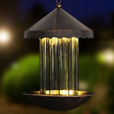 Solar Bronze Bird Feeder - Striped Glass - Click to enlarge
