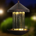 Solar Bronze Bird Feeder - Striped Glass