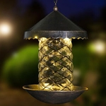 Solar Bronze Bird Feeder - Swirled Glass